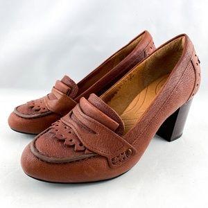 Clarks Indigo Brown Fringed Penny Loafer Heels